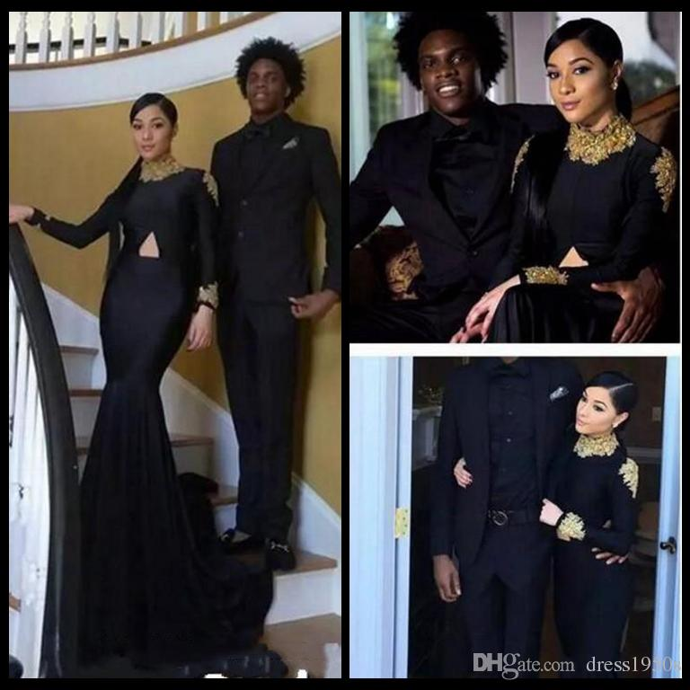 Black South African Mermaid Prom Dresses Sexy High Neck Gold ...