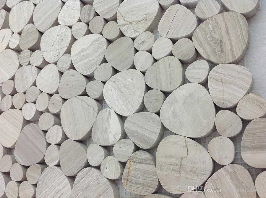 Houten grijze marmeren mozaïek stuiver ronde tegel natuursteen kiezelsteen
