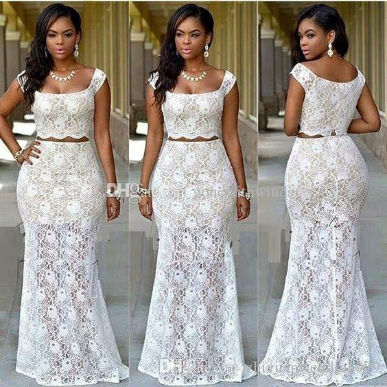 2a151541de6 Two Piece African White Lace Prom Dresses 2017 Bridal Outfits Evening Dress  Wear Party Dinner Dresses Mermaid Prom Dresses Prom Dress Stores From ...