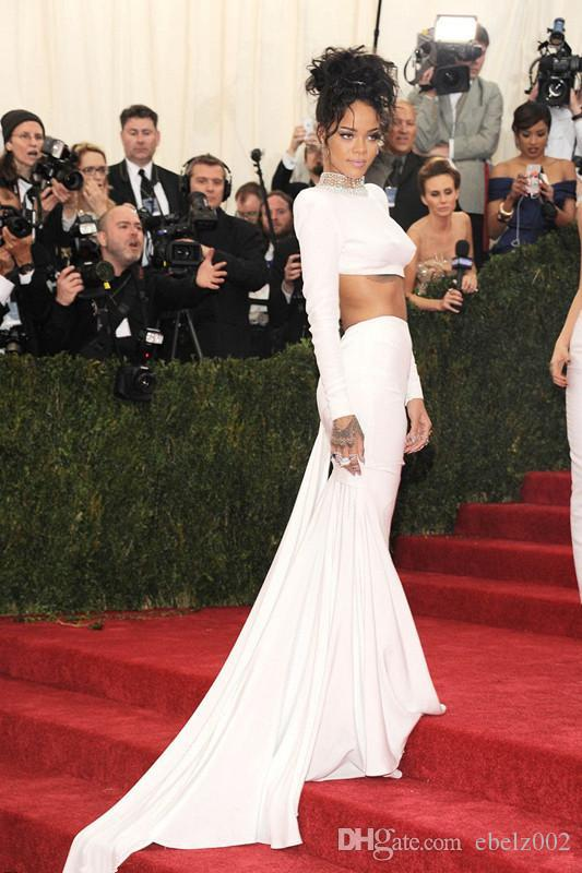 New Met Gala Rihanna Red Carpet Dress Two Piece Sheer Beaded High Neck Long Sleeves Backless Exposed Abdomen Evening Dresses White Gowns