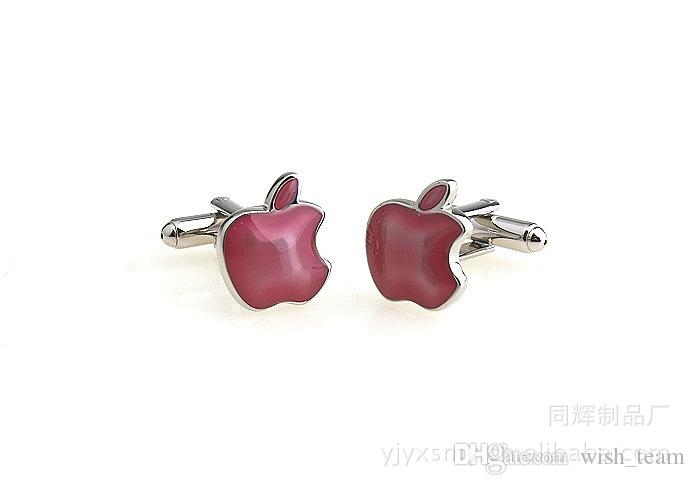 Novedad encantadora de Apple gemelos para hombre de cobre mancuerna boda Gemelos Moda Joyería Mejor Regalo de Navidad C016