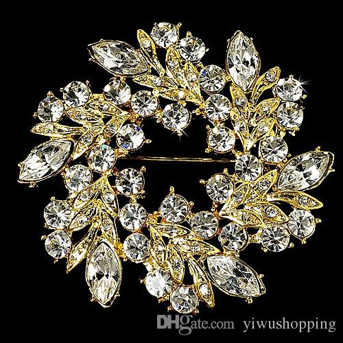 Rhodium Silver/Gold Plated Clear Crystal Rhinestone Beautiful Round Flower Brooches and Pins For Wedding Bouquet