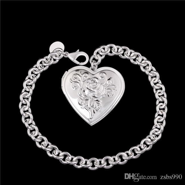 Beautiful New Design 925 Silver Photo Frame Heart Pendant Bracelet