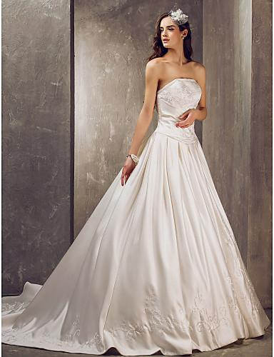 2016 New Hot Fashion Free Shipping Elegant Ball Gown Ivory Court Train Beading Embroidery Strapless Satin Wedding Dresses 207