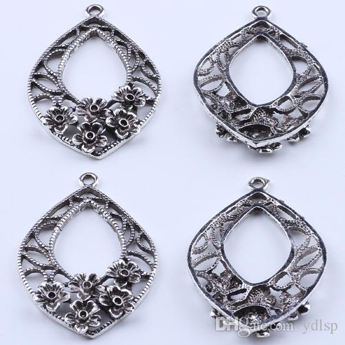 2016 DIY ювелирные изделия серебро ретро цветы декоративные овальный кулон многоэлементный кулон fit ожерелье или браслеты 30 шт. / лот 1962c
