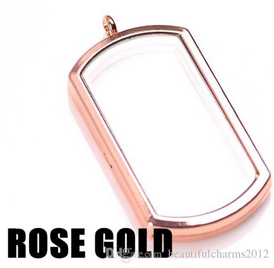 NEW 40MM Alloy Floating Locket Dog Tag Shape Memory Living Glass Lockets Necklace Pendant