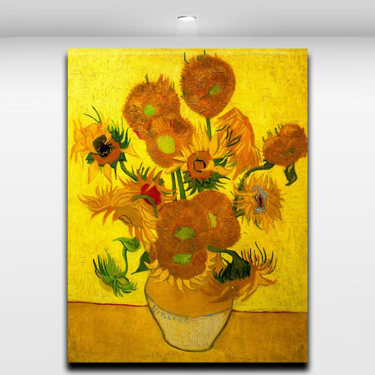 Van Gogh Famous Works Golden Sunflower Abstract Oil Painting Printed on Canvas for Home Office Hotel Wall Art Decor