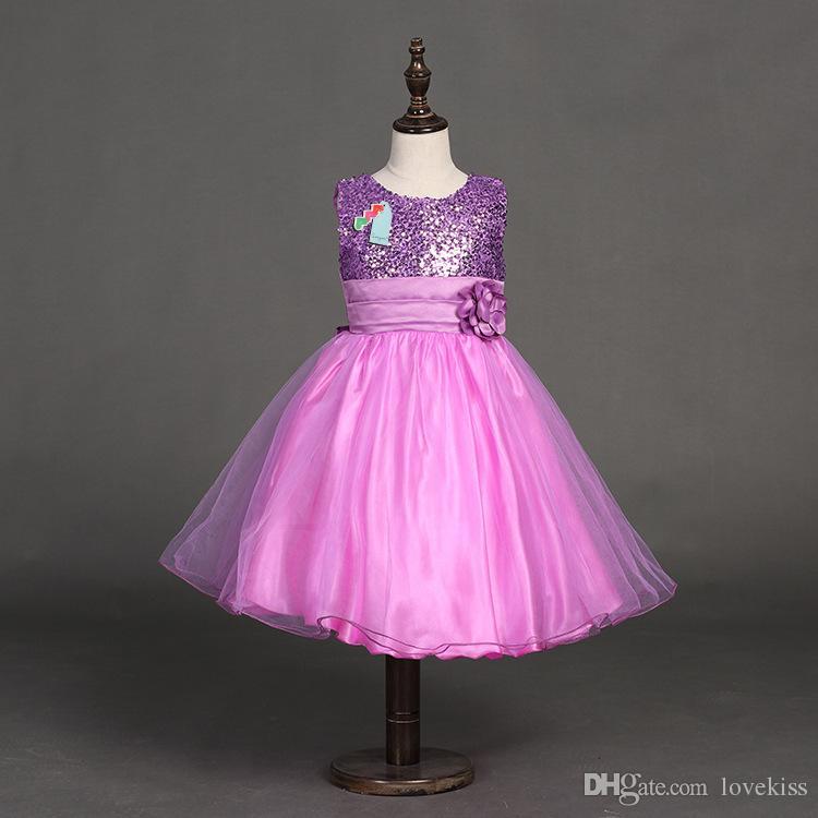 2018 été enfants robe à paillettes filles Tutu dentelle fleur robes longues princesse en mousseline de soie formelle robes d'enfants mode fille vêtements 100-170 LH03