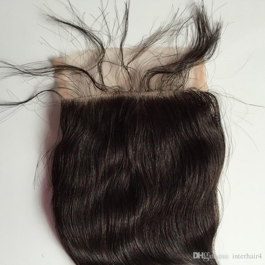 7A Brezilyalı Vücut Dalga Saç Dantel Üst Kapatma 5x5 Bakire Brezilyalı Dantel Kapatma Ücretsiz / Orta / 3 Yollu Kısmı Ağartılmış Knots Ile Bebek saç
