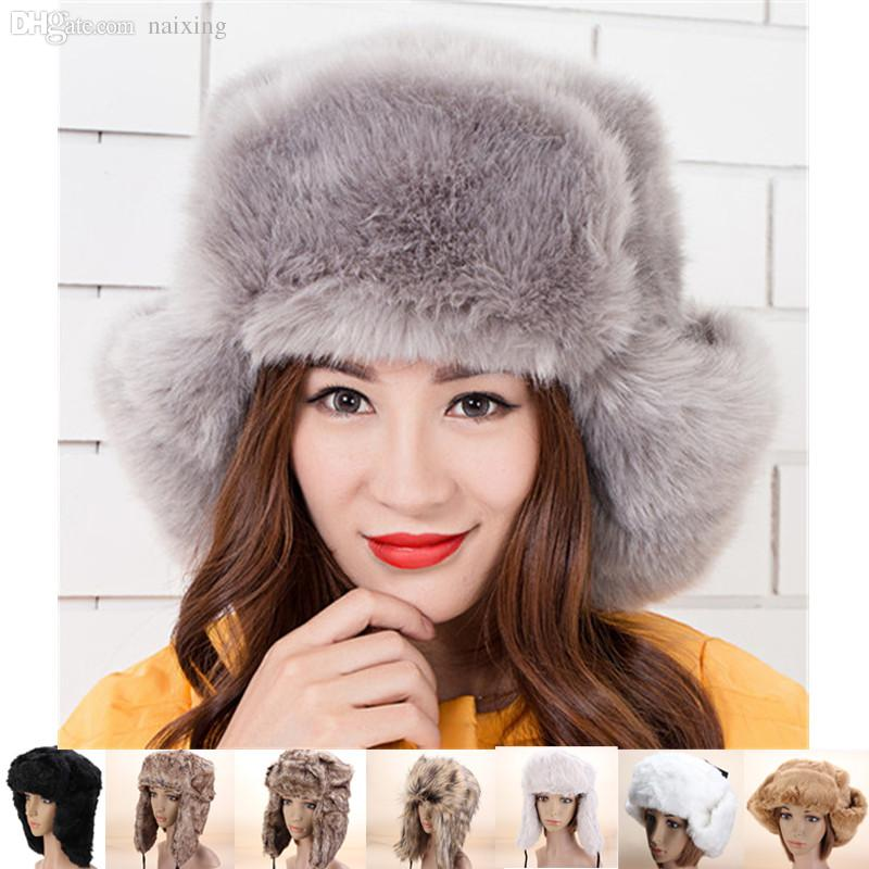 c888ad9ee44 Wholesale-Women Russian Fashion Style Bomber Hat Fall Winter Warm Faux Fur  Trapper Headband Snow Ski Beanie Lace-Up Protect Earflap Cap Ski Shoe Ski  ...
