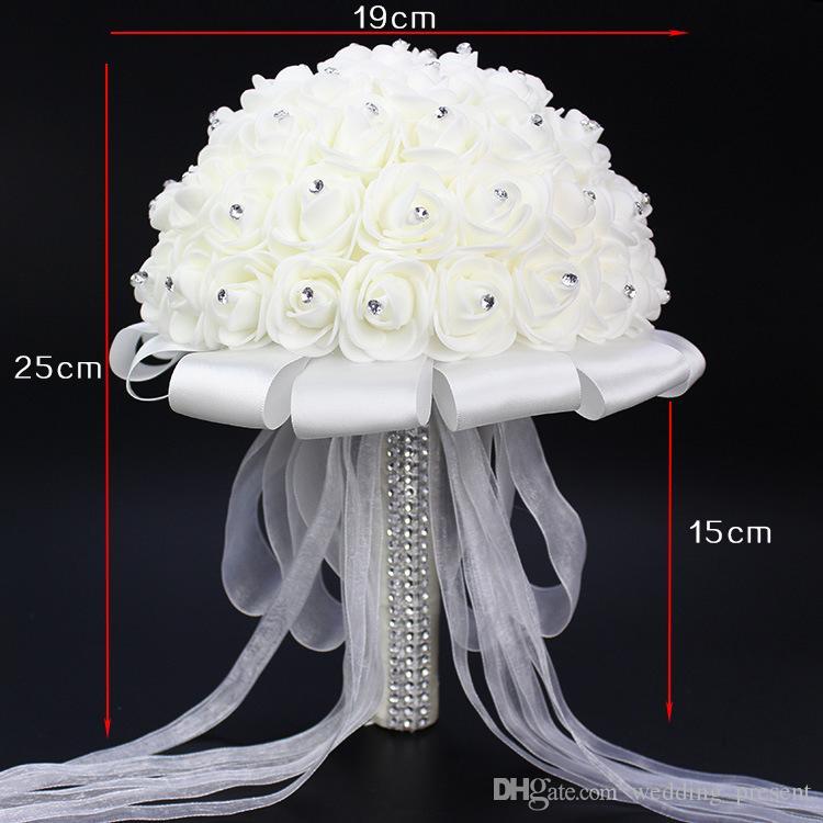 2016 Nuevo Crystal White Nupcial Ramos de Novia de Boda Nupcial Holding Flores Hecho A Mano Flores Artificiales Rose Bride Dama de Honor 19 * 19 cm
