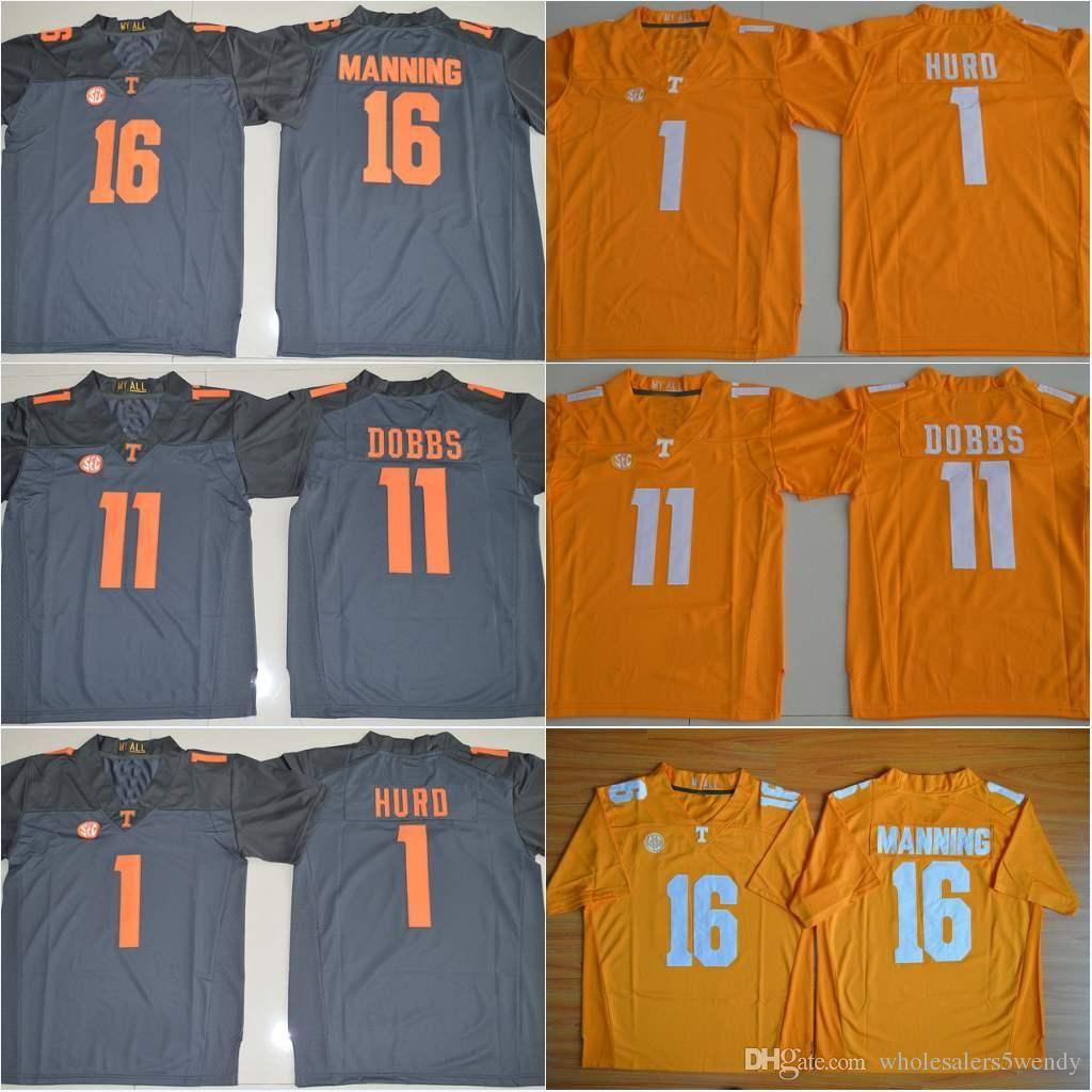 f5a325393 ... authentic college football jerseys orange 2018 16 peyton manning tennessee  volunteers 11 joshua dobbs 1 jalen