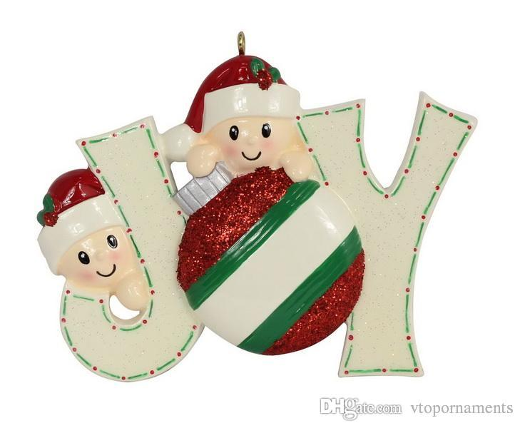 maxora resin babyface glossy joy family members christmas ornaments personalised own name as personalized gifts for holiday home tree decor christmas tree - Joy Christmas Decoration