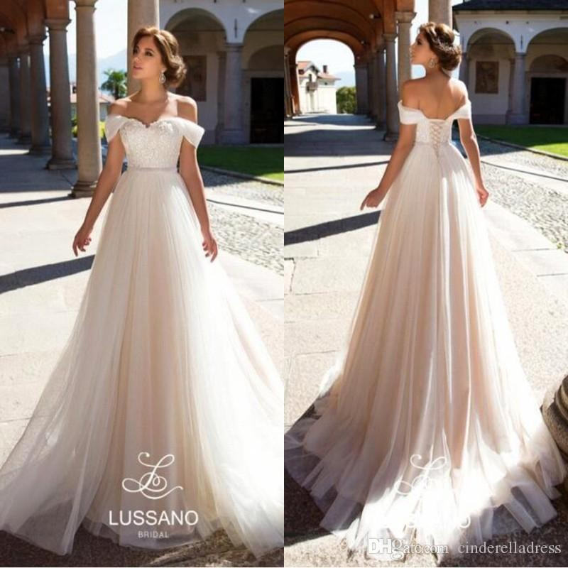Discount 2018 Elegant Spring Off The Shoulder Wedding Dresses A Line ...