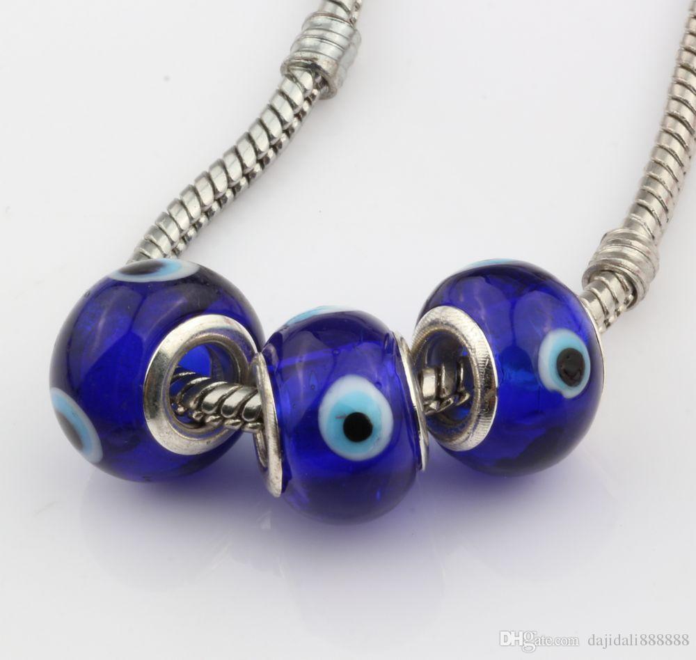 Hot ! Evil Eye Royal blue Color Colored Glaze 5mm Big Hole Glass Beads Fit Charm Bracelet DIY Jewelry 14mm