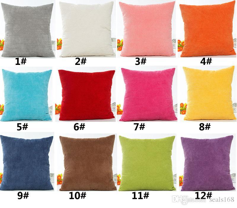 Striped Plush Velvet Pillow Case Solid Soft Corduroy Home Sofa Car Cushion Cover Christmas Decoration 45*45cm HH7-274