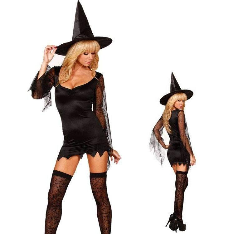 98320ff334a7c Hot Sexy Women Witch Cosplay Costumes Halloween Lace Sleeve ...