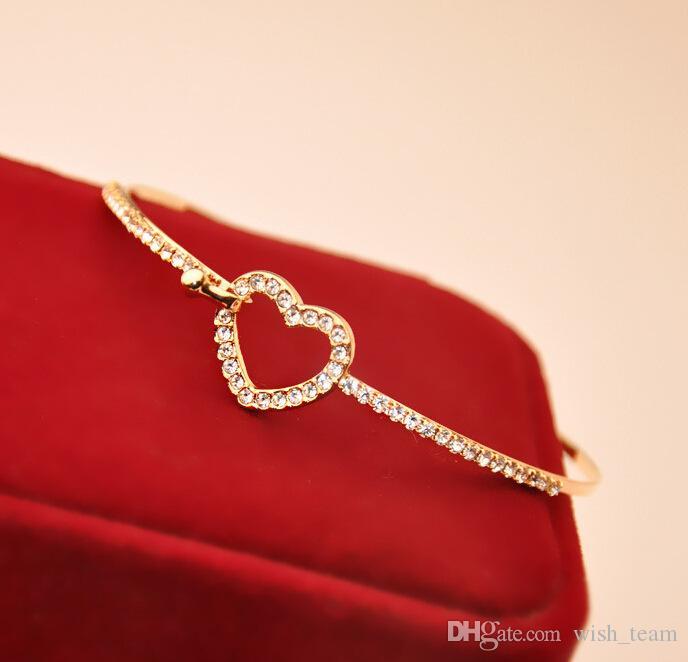 Joyería de moda wish_team Bling Bling brazalete ahuecan hacia fuera del corazón del amor del brazalete brazaletes sencillo broche de los encantos encantadores brazalete W708