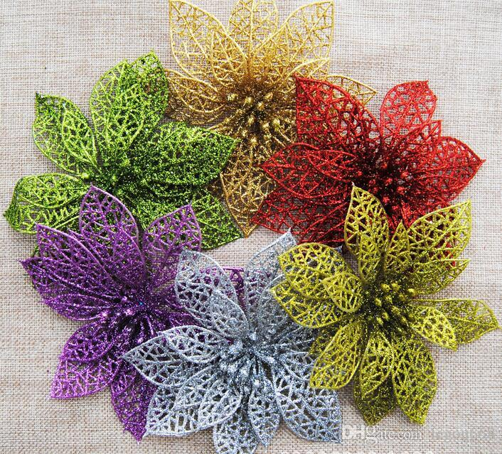 Christmas Flower Decorations.Hot 6 Inch Christmas Flowers Xmas Tree Decorations Hollow Wedding Party Decor Ornaments Outside Xmas Decorations Sale Paper Christmas Decorations From