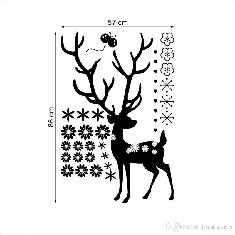 Merry Christmas deer flower Snowflake wall sticker xmas43 Chirstmas party window decals decoration shop store
