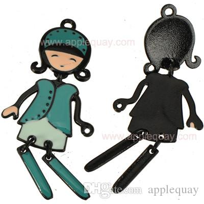 dancing girls necklaces pendants diy epoxy charms mixed color activity woman lady black base handicraft metal 61mm jewelry components