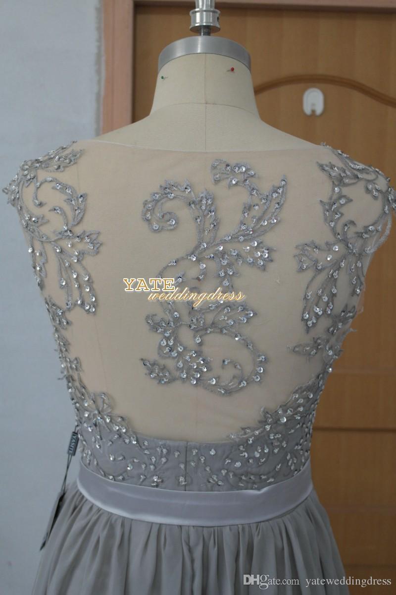 2016年在庫ありセクシーな安いシフォンの結婚式の花嫁介添人ドレス刺繍ビーズ恋人の半袖シアーバックフロアの長さ