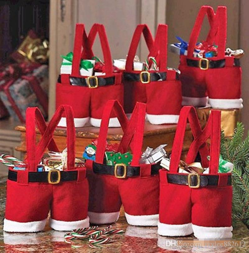 xmas party gifts decoration candy bag santa claus suspender pants cute velvet trousers shaped christmas gift holder pouch pack cloth grocery bags top bags