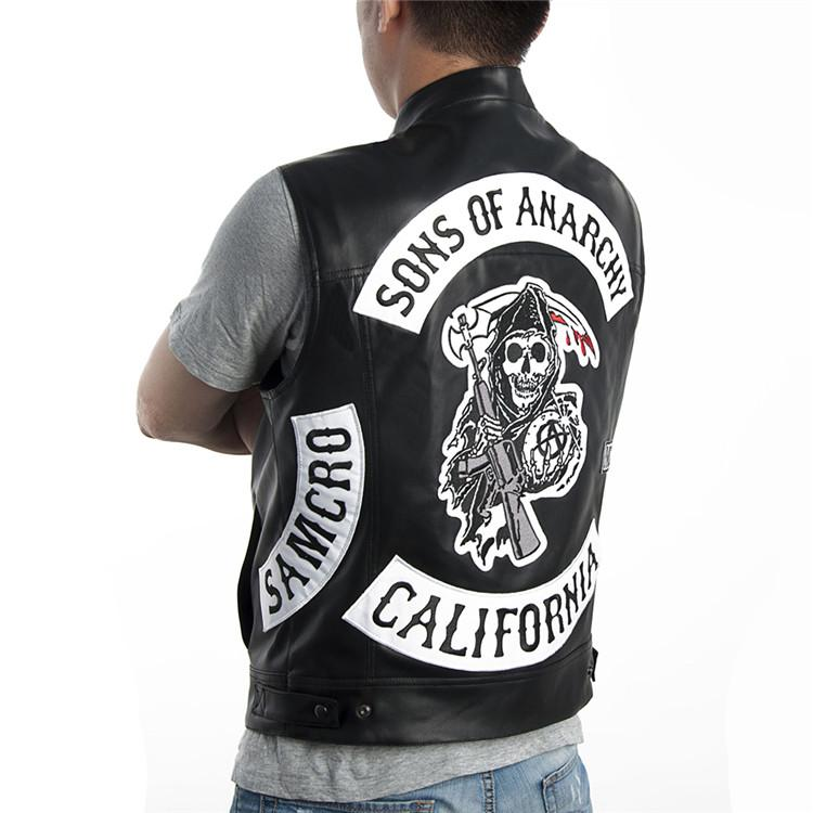 2019 sons of anarchy vest faux leather soa leather vest. Black Bedroom Furniture Sets. Home Design Ideas