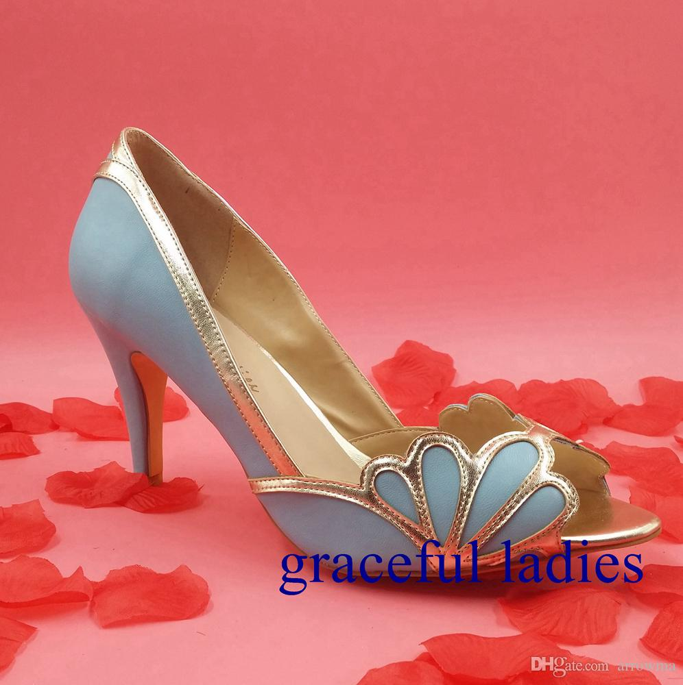 Zapatos de boda azul real 2016 nupcial de la vendimia Isabella gatito del talón festoneado PU Peep Toe sandalias por encargo Bombas Sexy elegante zapatos de baile