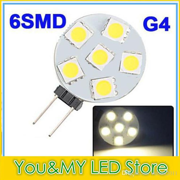 G4 6 SMD LED Marine Light Bulb Lamp Warm White 12 Volt 1W 5050 CHIP Energy Saving Pure / Warm White Free DHL