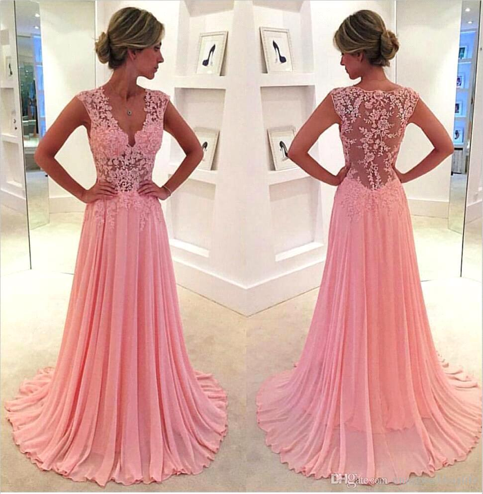 New Sexy V Neck Pink Lace Chiffon Prom Dresses Long 2016 Sexy Sheer ...