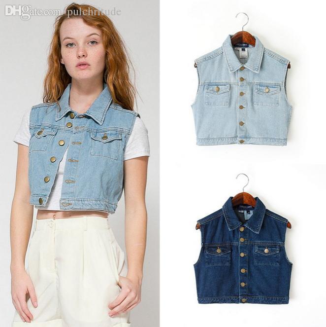 18ebb0884e9 Wholesale-Denim Vest Women Jeans Gilet Female Casual Sleeveless ...