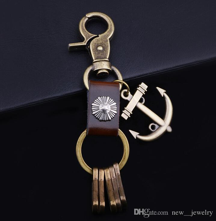 Vintage Alloy Anchor Pendant Keychain Multifunction Genuine Leather Key Rings Fashion Anchor Keyrings for Men Gifts
