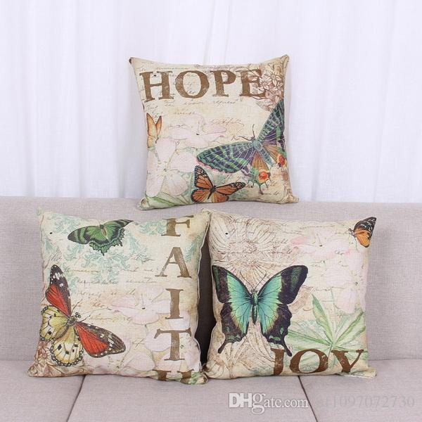 Pillow Cover European Style Square Elegant Pattern Printing Sofa Cushion Cover Butterfly English Figure Thick Cotton Linen Pillow Case