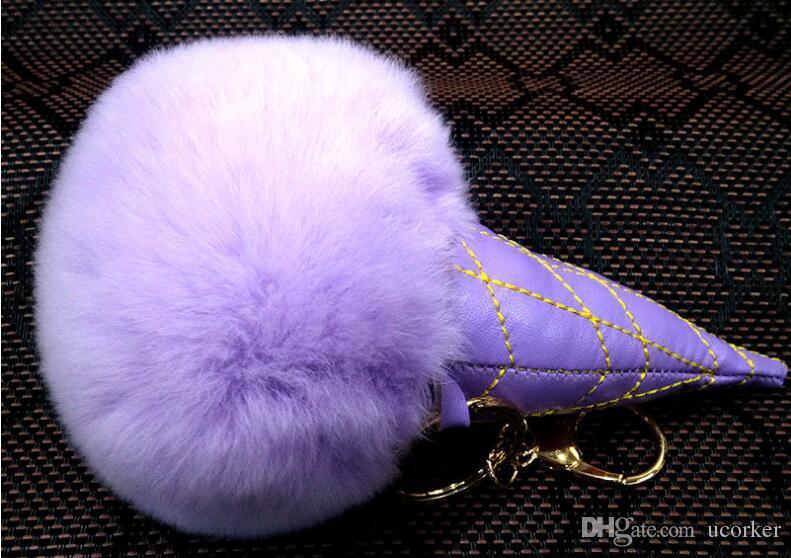 Moda Tavşan Kürk Dondurma Topu Anahtarlık Yumuşak Kürk Topu Güzel Altın Metal Anahtar Zincirleri Top Pom Poms Peluş Anahtarlık Araba Anahtarlık Güzel Hediye