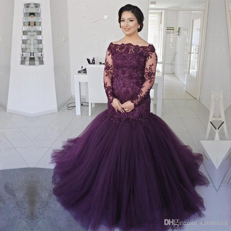 Dark Purple Plus Size Prom Dresses Fat Women Mermaid With Long Sleeves Boat  Neck Lace Formal Evening Dress Party Gowns Wear China Pink Prom Dresses Uk  Von ... f2e1ebeb8404
