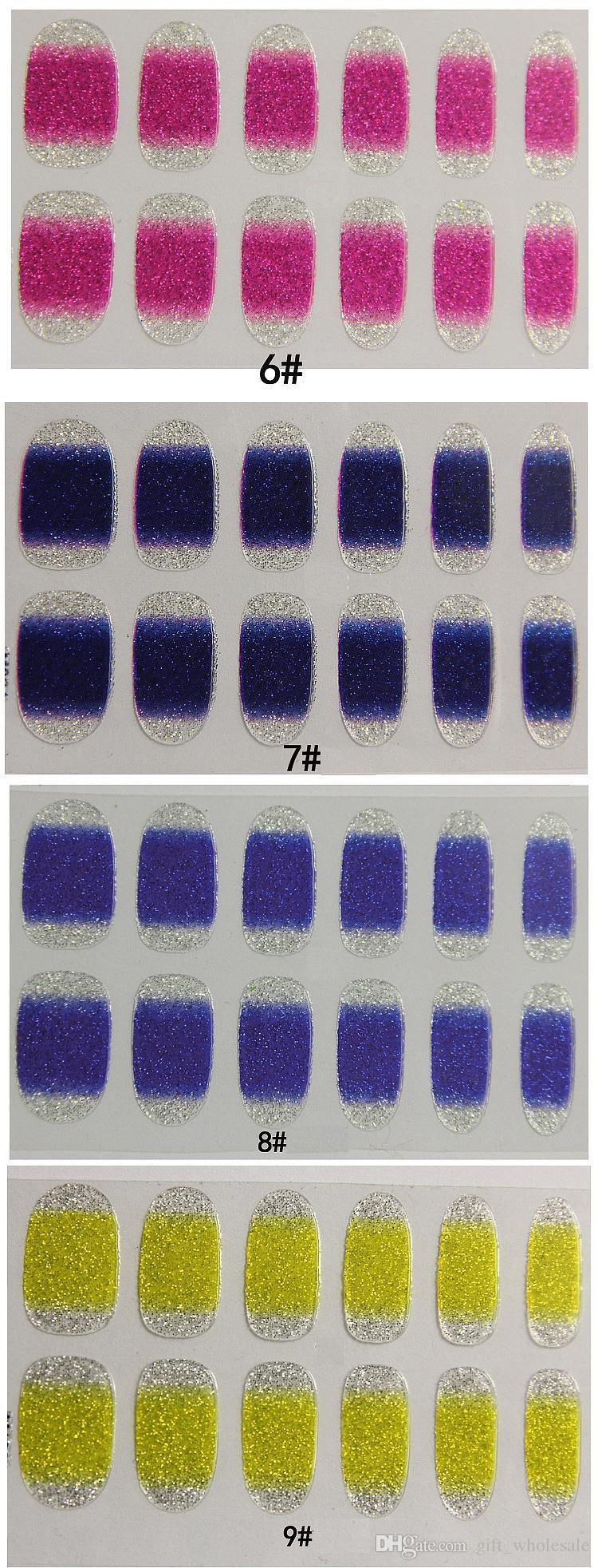 LIVRAISON GRATUITE ! Nouveau Gradient Couleur Nail Stickers Classique Mignon Art Autocollants DIY Décorations Feuilles Wraps En Gros Nail Outils