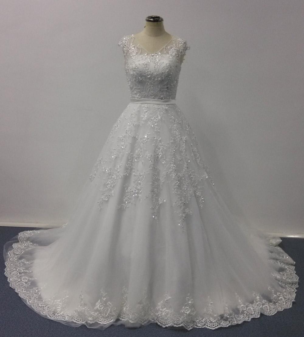 Bellissima Wedding Dresses 2016 Ball Gown Sheer V Neck Cap