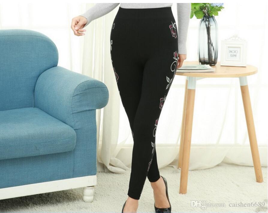 2018 primavera nuova moda lato stampa stampa Leggings donna alta resilienza matita pantaloni a vita alta stampa senza saldatura rendering pantaloni collant