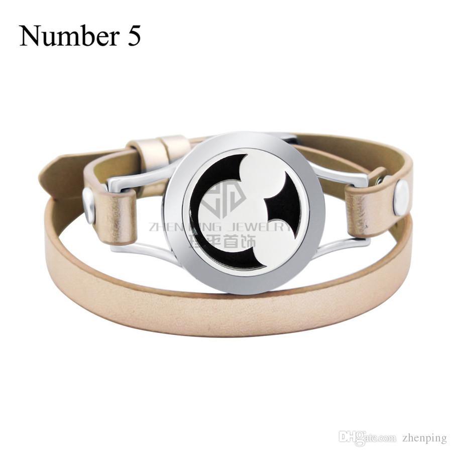 Tier 20mm ätherische Öle magnetische Medaillon 316L Edelstahl Armreif echtes Leder magnetische Aroma Diffusor Medaillon Lederarmband