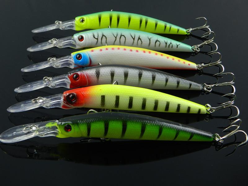 Dalış büyük oyun balıkçılık cazibesi krank Bas için Minnow tuzlu su sinek balıkçılık bait Çin 6 renkler 14.5 cm / 14.7g 20 adet / grup