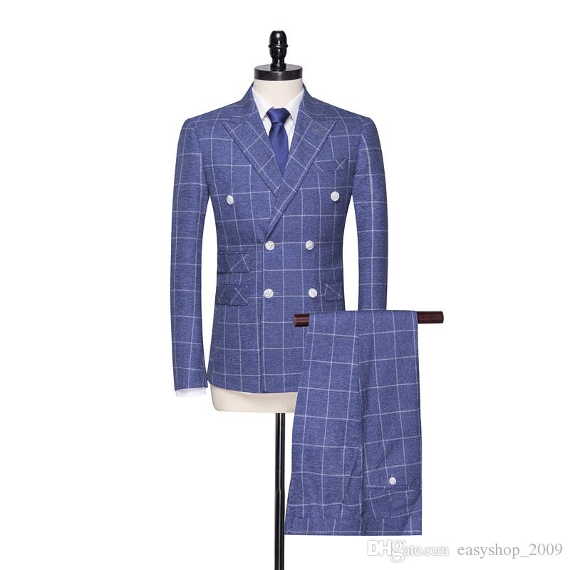 Fashion Blue Plaid Double Breasted Men's Groom Tuxedo and Men's Office Workwear Set 2 Jacket + Pants