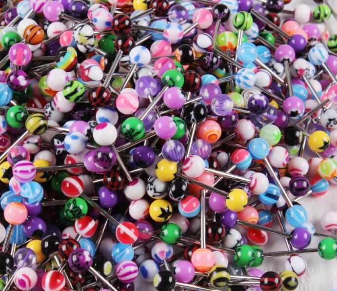Tunga ringstång 100st / mix färg uv akryl kropp piercing smycken tunga barbell ring
