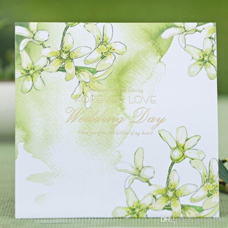 Green Wedding Invitation Card Floral Style Forever Love Big Day Invitations  Personalized Marry Cards Square Style Free Printing Handcrafted Wedding ...