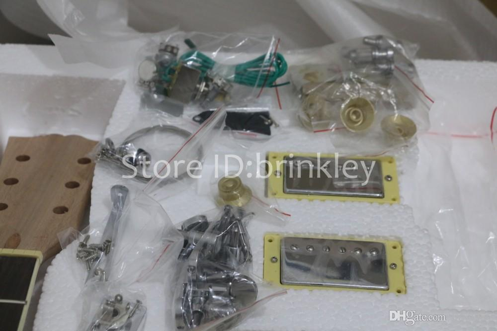 Brinkley Оптовая высокое качество электрогитары DIY Kit набор красное дерево тела Палисандр гриф гитара комплекты, незавершенные гитара