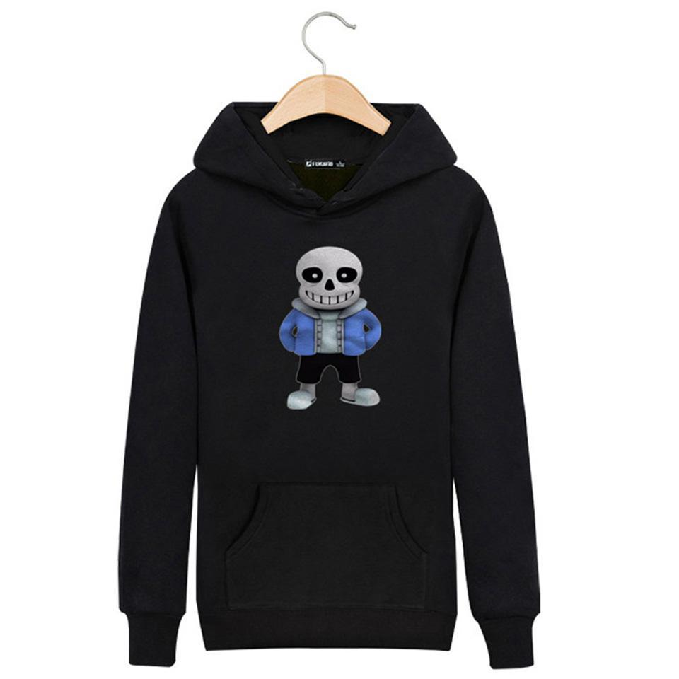 Wholesale- Hot Sale Latest Game Design Undertale Cartoon Skull Hoodies Men/Unisex Cotton Casual Hoodie Plus Size Sweatshirt Brand Clothing