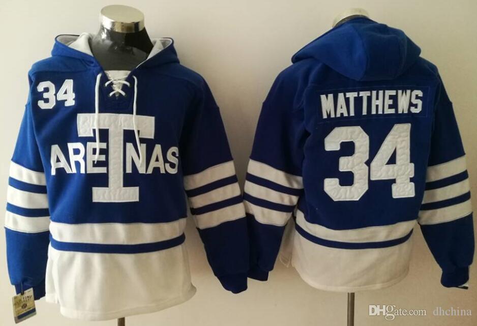 New Maple Leafs Hoodies Jerseys  34 Matthews Hockey Hoody Jerseys ... 8642646c9