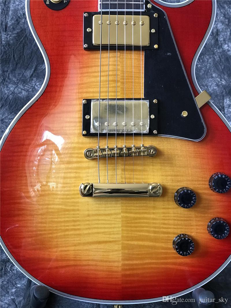 In magazzino - Chitarra elettrica personalizzata in Chiliery Burst Color with Flame Acero Top, Guitarra, tutti i colori sono disponibili, di alta qualità