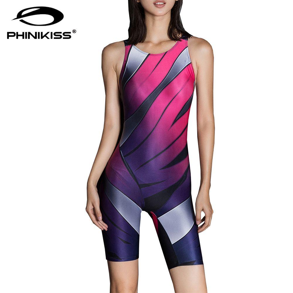 69d32558d9a98 Wholesale- Phinikiss Striped Slim Swimsuit Sport Suit for Women Gradient  Swimwear Female Pink Blue Bodysuit Monokini Femme Bathing Suit