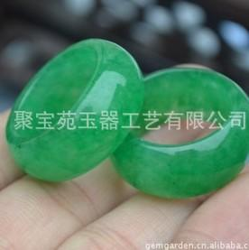 2 pairs natural green jade carved lady's ring (88) pip